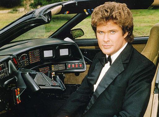 """Auf ewig vereint: David Hasselhoff als """"Michael Knight"""" und sein Serienauto K.I.T.T."""